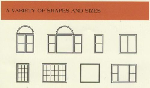 A variety of windows shapes and sizes